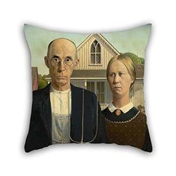 Oil Painting Grant Wood - American Gothic Throw Cushion Cove