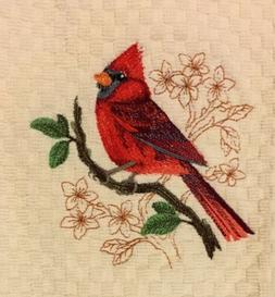 Oops! Discounted Cardinal Bird Embroidered Ivory Kitchen Waf