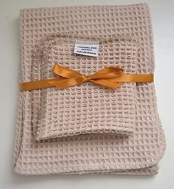 100% Organic Cotton Waffle Weave Natural- Towel and Dish Clo