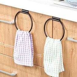 Ozzptuu 2pcs Over the Cabinet Metal Towel Rings Holders Mult