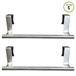 """Evelots Set of 2 Over Cabinet 9.1"""" Towel Bars, Stainless Ste"""