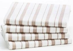Cotton Craft - 4 Pack - Basket Weave Kitchen Towels - Linen