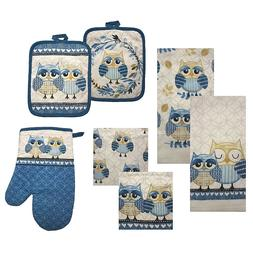 Mainstay Owl 7 Piece Kitchen Towels, Pot Holders, Oven Mitt,
