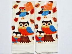 Owl Critters Kitchen Towels Autumn Fall Oak Leaves Holiday C
