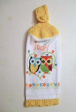 Owl Crochet Top Hanging Kitchen Towel with Decorative Bottom