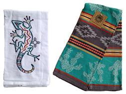 Kay Dee Kitchen Towel Set, Two Southwest Style Towels, Cactu