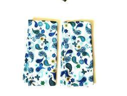 Paisley Microfiber Kitchen Dish Towel Set Blue/White/Green N