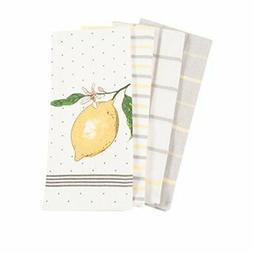 Pantry Lemon Kitchen Dish Towel Set of 4, 100-Percent Cotton
