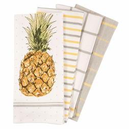 Pantry Pineapple Kitchen Dish Towel Set Of 4 100 Percent Cot