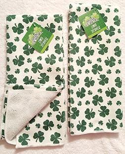 St. Patrick's Day Shamrock Kitchen Bathroom Hand Towels, Set