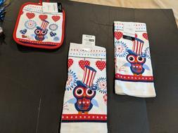 Patriotic Kitchen Towels & Pot Holder With Uncle Sam Owl  Bu