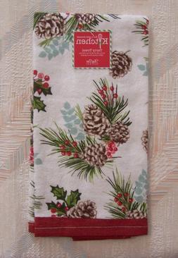 pine cones kitchen towel winter woodland pattern
