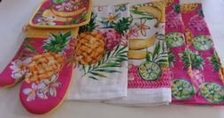 Pineapple Theme 6 Piece Kitchen Set 4 Towels,1 Oven Mitt, 1