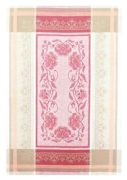 Pink and Beige Kitchen Tea Towel Made Belarus Cotton Linen D