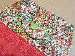 Pink and Green Paisley Hanging Kitchen Towel, Button Top Dis