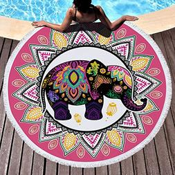 SOFTBATFY Pink Indian Elephant Thick Terry Round Beach Towel