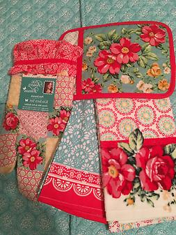 PIONEER WOMAN VINTAGE FLORAL ROSES Kitchen Towels Oven Mitt