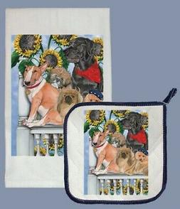 Pipsqueak Productions DP877 Dog Dish Towel And Pot Holder Se