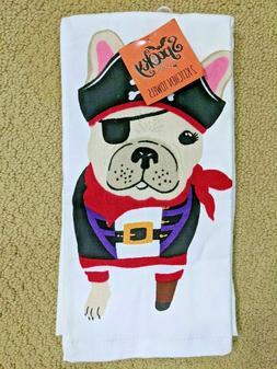 Pirate Dog Kitchen Towels Set of 2 Peg Leg Puppy French Bull