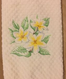 Plumeria Frangipani Yellow Flowers Embroidered Ivory Terry K