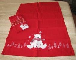 Polar bear kitchen towels; set of 2 Sur la Table; NWT; red a