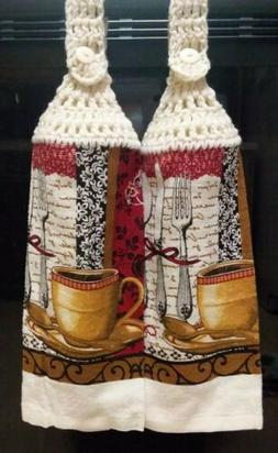 PR. OF CROCHET TOP TEA/KITCHEN TOWELS WITH BUTTON CLOSURE