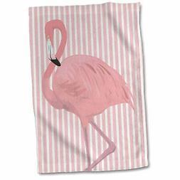 "3dRose"" Pretty Flamingo on Striped Pink Background Towel, 15"