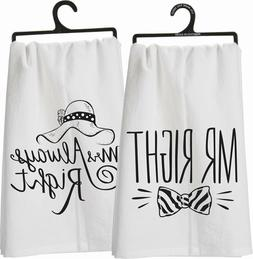 Primatives by Kathy Kitchen Towel MR/MRS TEA TOWELS 24x24 NW