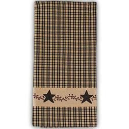 PRIMITIVE BERRIES Black Check Cotton Kitchen Towels, Set of