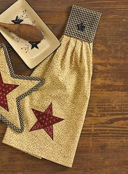 Primitive Country Star Hand Towel Cotton Barn Red Star Farmh