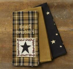 Primitive SIMPLE PLEASURES Kitchen Tea Hand Towels 3 pc Star