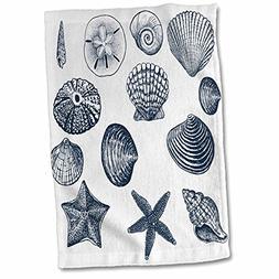 3D Rose Blue Sea Shells Nautical Beach Theme Ocean Art Towel