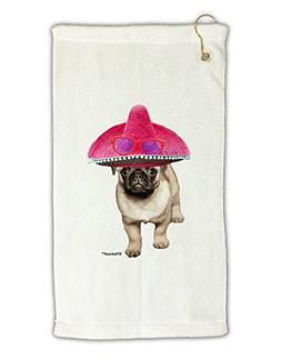TooLoud Pug Dog with Pink Sombrero Micro Terry Gromet Golf T