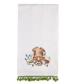 C&F Home Puppy in Christmas Lights Embroidered Kitchen Towel