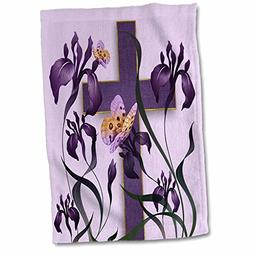 3dRose Purple Iris Flowers with a Christian Cross and Butter
