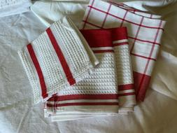 red and white towels 3 and dish