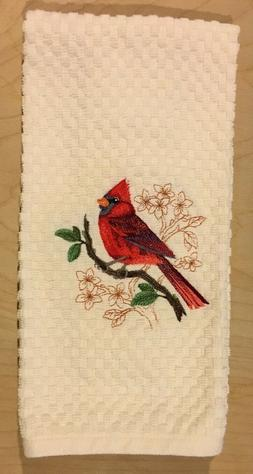 Red Cardinal Bird Embroidered Ivory Cream Kitchen Waffle Wea