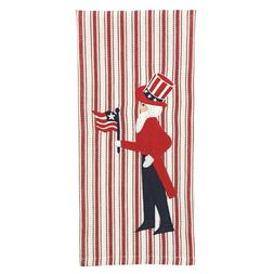 Red Cream Ticking Stripe Dish Towel Uncle Sam Patriotic Amer