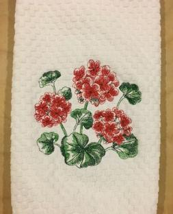 Red Geranium Flowers Embroidered White Waffle Weave Kitchen