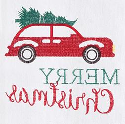Red Holiday Car Hauling Tree Flour Sack Christmas Kitchen Di
