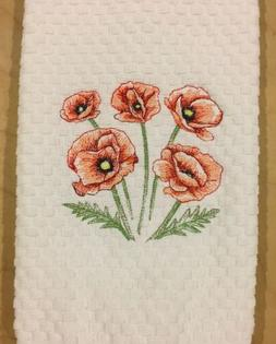 Red Poppies Poppy Flowers Embroidered White Waffle Weave Kit