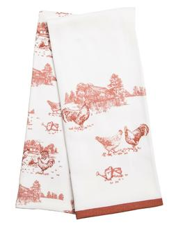 Red Rooster Chicken Herringbone Kitchen Towels 2-Pc Country