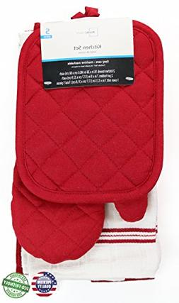 Red Sedona Towel Kitchen Set 2 Towels, 2 Pot Holders and 1 O