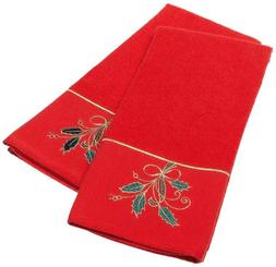 Lenox Ribbon Holly Kitchen Towel, Red, Set of 2