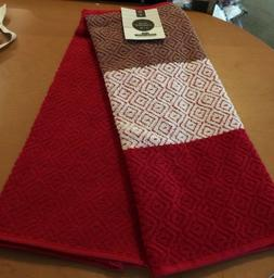 Home Concepts Ringspun Cotton Red Kitchen Towels - 2pk