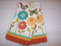 Ritz Set of Two Cotton Kitchen Tea Towels, Flowers