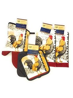 Rooster Kitchen Decor Bundle With Potholders, Oven Mitt And