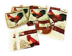 Rooster Kitchen Towel and Dish Cloth Set with 2 Pot Holders