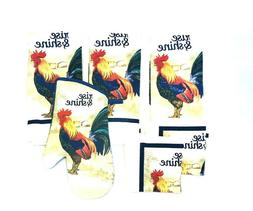 Rooster Rise & Shine Theme Linens Kitchen Towels Dishcloths