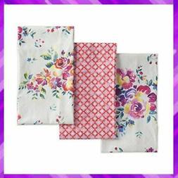 Maison d' Hermine Rose Garden 100% Cotton Set Of 3 Kitchen T